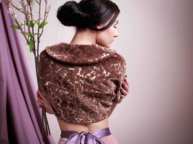 Velveteen brocade bolero. Model Skylar Leigh