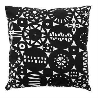 Retro cushion cover - black 45x45 cm - Klippan Yllefabrik