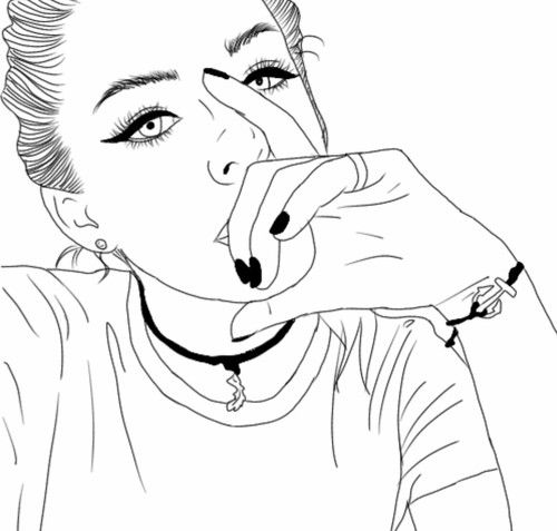 outline girl and grunge image - Cartoon Outline Drawings