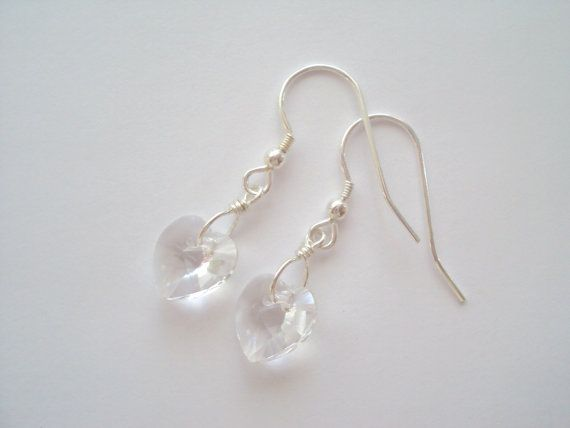 Swarovski Crystal Heart earrings in sterling silver (925)