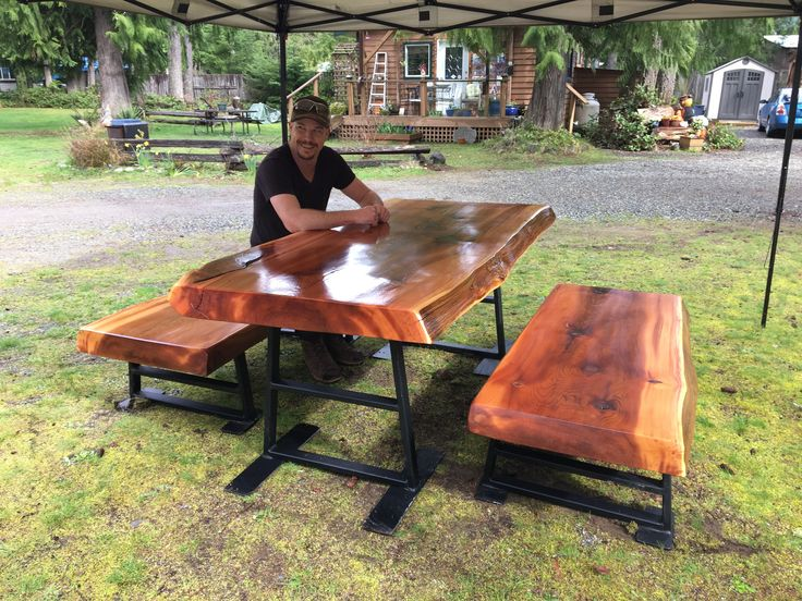 Old Growth Red Cedar Table and Benches with Black Iron.