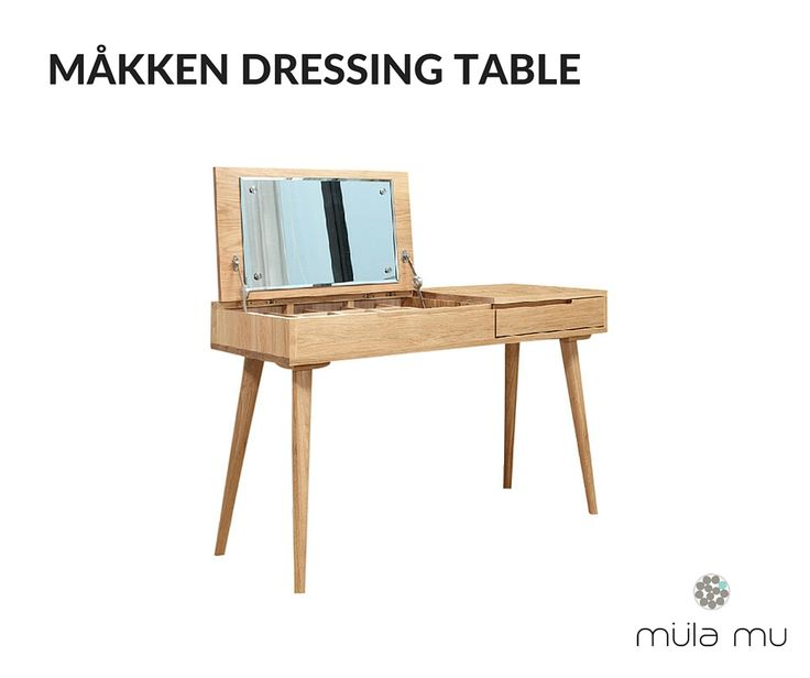 The MÃ?KKEN dressing table is crafted from solid oak wood and houses a  drawer and hidden