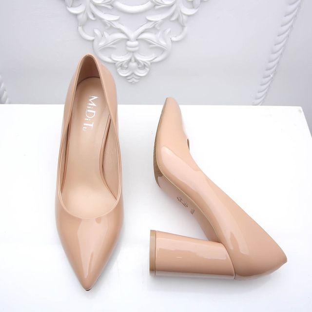 Обувь Женщина На Высоких Каблуках Насосы Толстые Каблуки Свадебные Туфли Для женщины Моды Острым Носом Рабочая Обувь На Высоких Каблуках Насосы Женщин B-0226