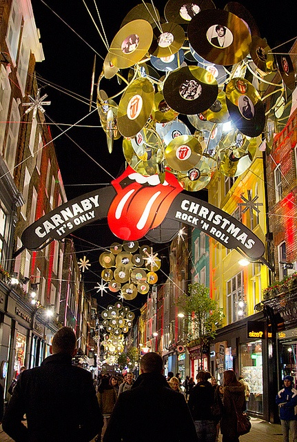 "Carnaby Street, London, Christmas - ""It's Only Rock 'n Roll."" This is where I'm meant to spend christmas!"