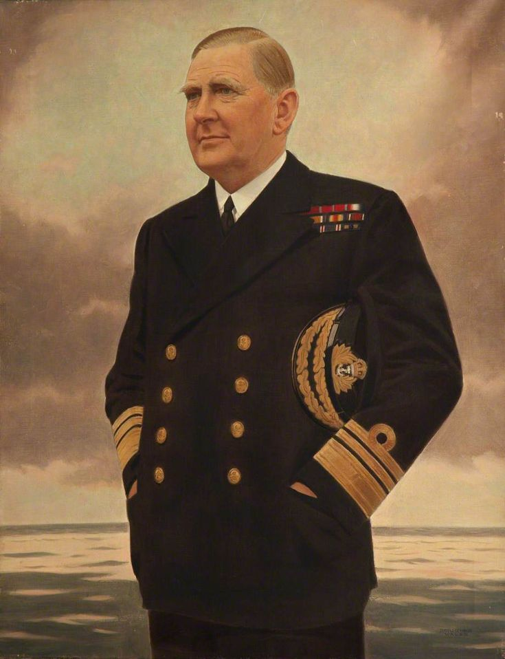 """Rear-Admiral Sir Henry Harwood (1888–1950)"" by Arthur Douglas Wales-Smith (1888-1966).  National Maritime Museum.  (Wearing uniform of Vice Admiral)."