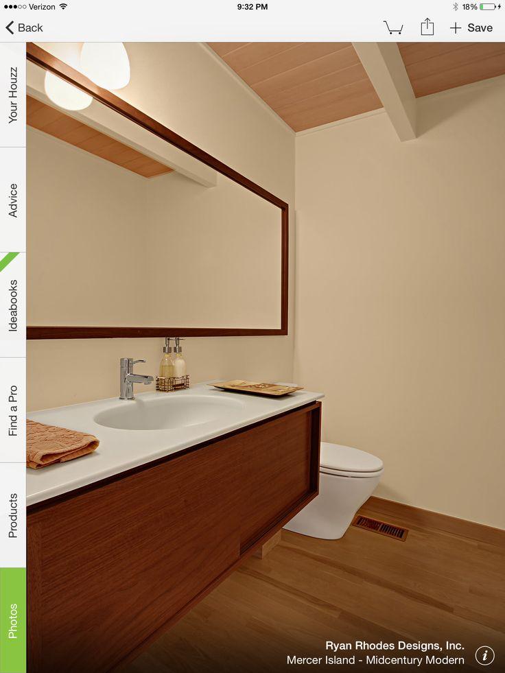 Photo Gallery On Website Mercer Island Midcentury Modern modern powder room seattle Ryan Rhodes Designs Inc
