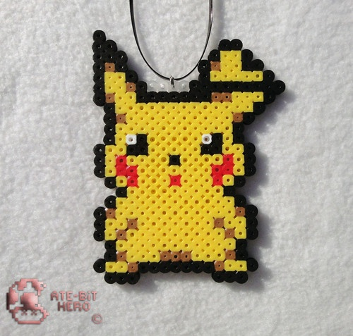 Pokemon Pikachu Necklace Decor Bead Sprite Perler Art