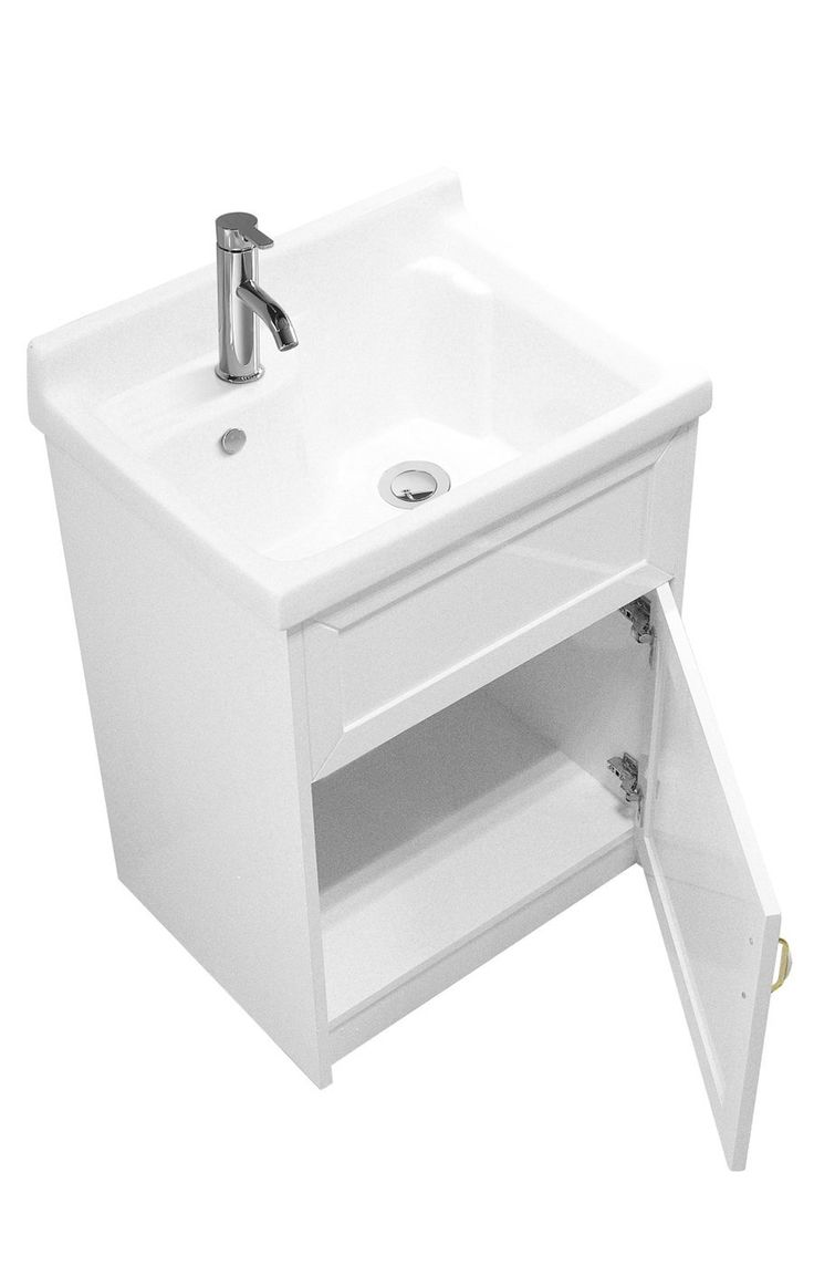 "sink ALEXANDER 24"" WHITE Utility Sink - Modern Mop Slop Tub Deep Sink Ceramic Laundry Room Vanity Cabinet Contemporary Hardwood Hard - - Amazon.com"
