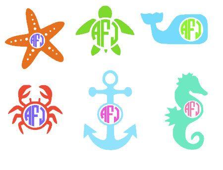 Nautical ocean beach monogrammed vinyl decal sea whale sea horse sea turtle star fish crab