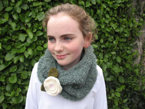 Sage Green Knitted Neckwarmer In Irish Boucle by TissaGibbons, €25.00