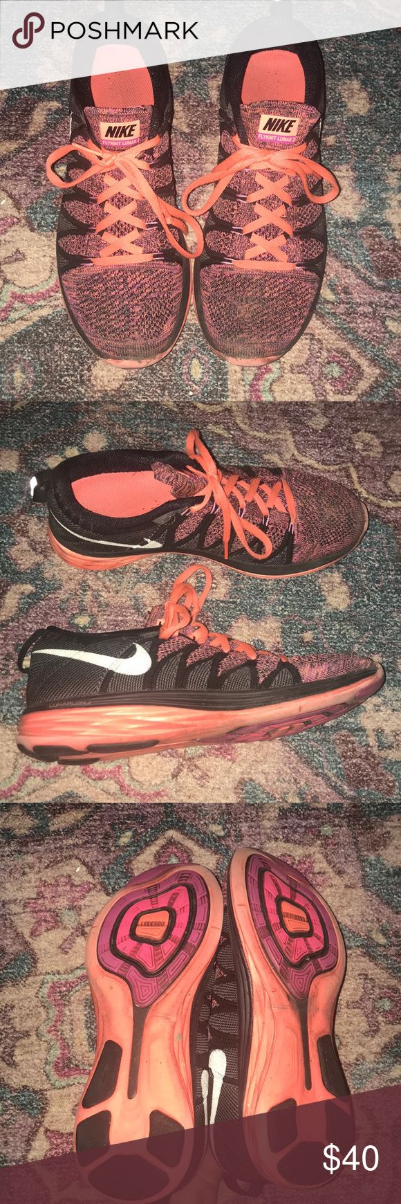 Nike flyknit lunar 2 Nike flyknit lunar 2  Good used condition Great running sneaks! Nike Shoes Athletic Shoes
