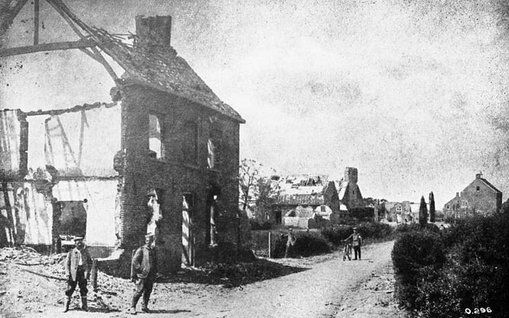 Zandvoorde, a village five miles east of Ypres. Picture postcard taken from a German prisoner. July, 1916.