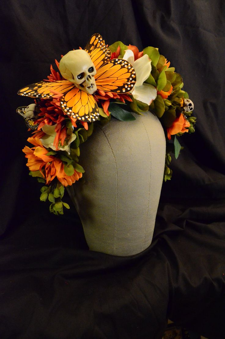 Hawkmoth Harvest Day of the Dead Crown - Dia de los Muertos Whimsical Fall Wisteria Flowers Monarch Butterfly Sugarskull Headdress Fascintor. $55.00, via Etsy.