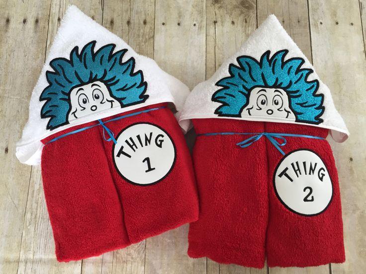 "Mischievous Duo Applique Hooded Bath, Beach Towel 30"" x 54"" by…"