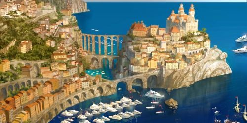 The town Porto Corsa is a fictional composite of Nice, France and Portofino, Italy, and the Monaco Grand Prix race track.  Cars 2 (2011)