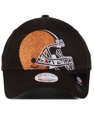 New Era Women's Cleveland Browns Glitter Glam 9TWENTY Strapback Cap - Brown Adjustable
