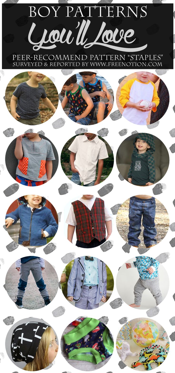 """Today I'll be sharing your list of most adored Boy Sew Patterns!You read  me right! This is """"your"""" list. 125 of you lovely readersshared your  pattern recommendations in this survey.Thanks so much for your help!!"""