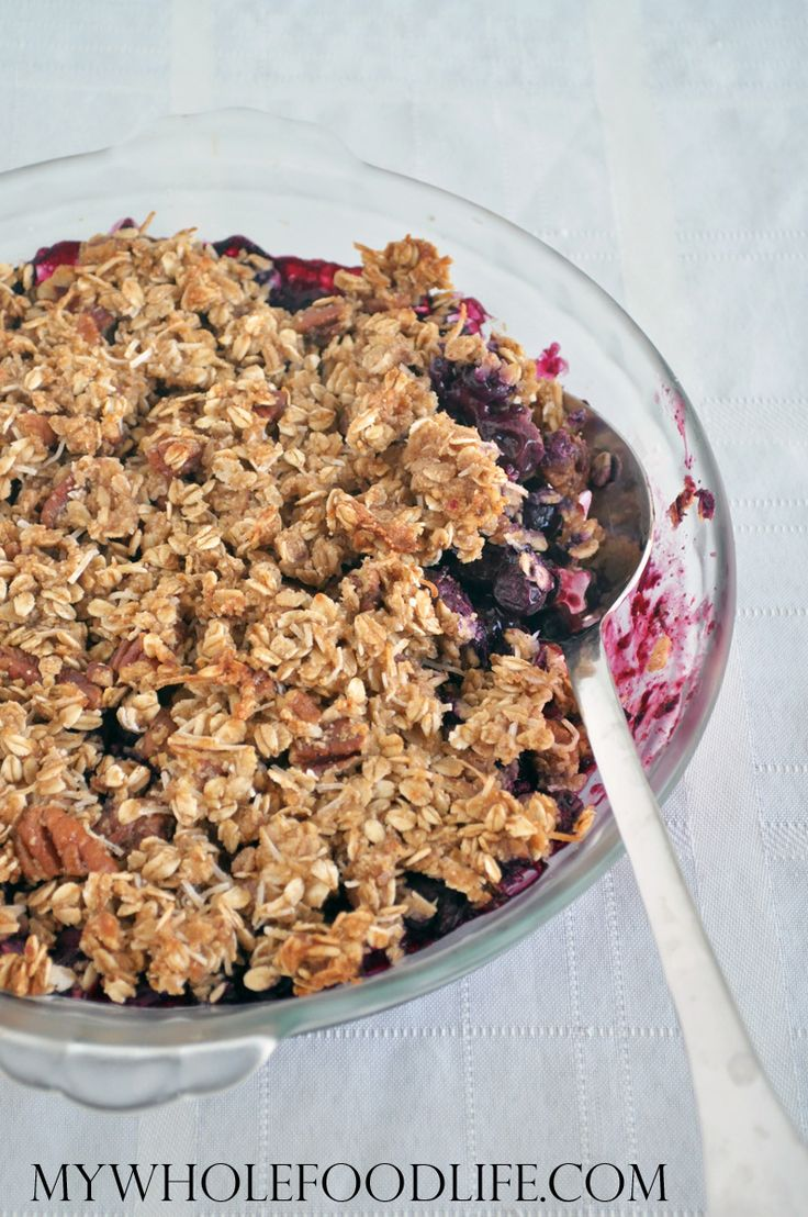 Healthy Blueberry Crisp from the new cookbook, The Healthy Matcha Cookbook.  Vegan and gluten free.  Makes a healthy breakfast or a healthy dessert.