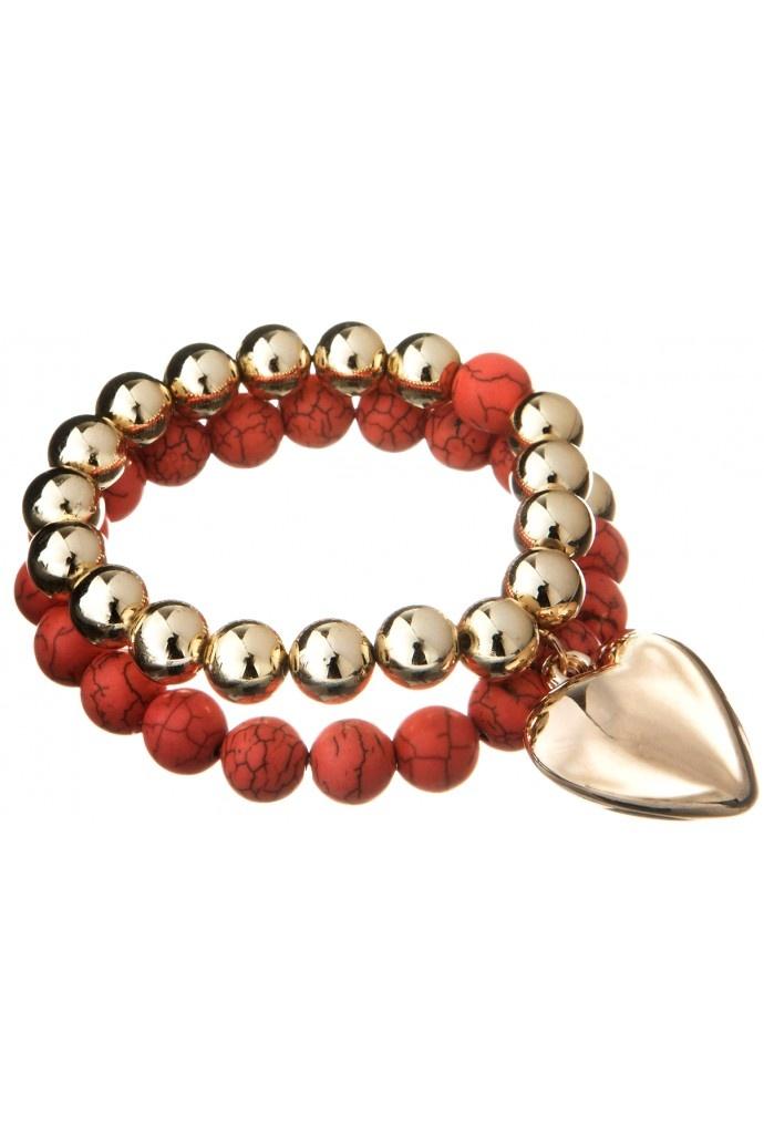 Zanzibar Semi Precious Beads With Heart Bracelet in CORAL #666 - colette by colette hayman