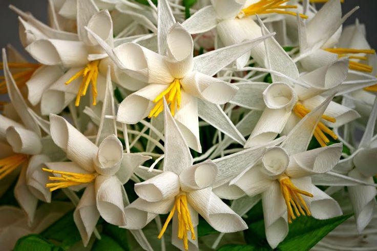 Bibułkowy ogródek Jolenty: Bukiet Ślubny - White floers wedding bouquet
