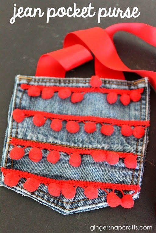 Jean Pocket Purse at GingerSnapCrafts.com #kidcraft #recycle