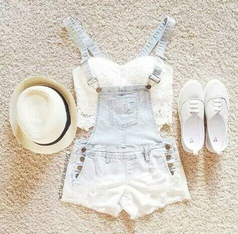 Image via We Heart It #casual #fashion #fedora #lace #outfit #summer #ootd #jumpershorts