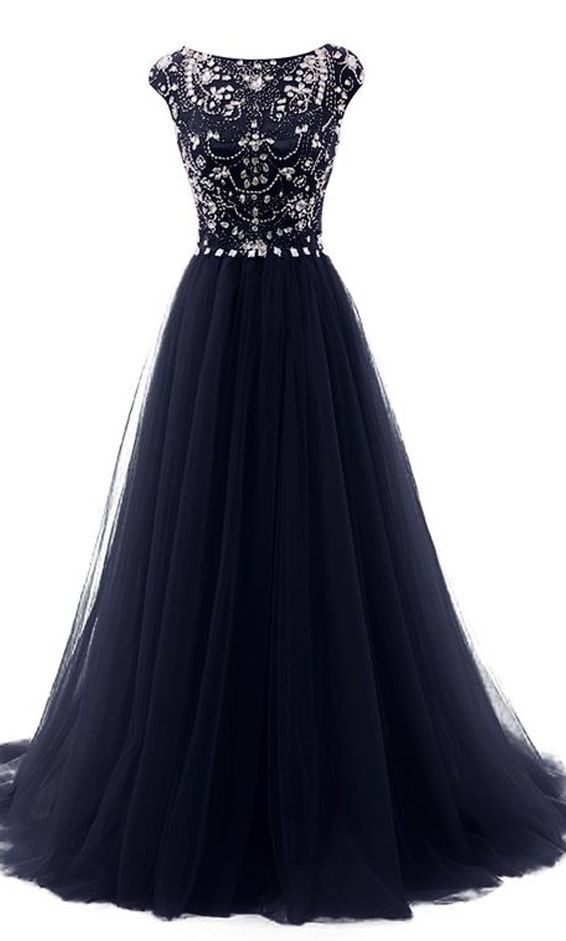 Fashion Navy Blue Cap Sleeves Ball Gown Prom Dresses,Back V Beads Crystals Prom Dress Evening Gowns Formal Women Dresses
