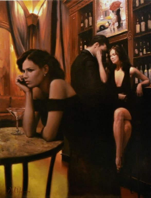 Daniel Del Orfano: Tale of Two Loves The woman in front is exquisite, though the two in the background are not as good. The painting above the bar is another of Del Orfano's.