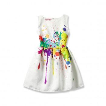 Artistic Printed Sleeveless Dress for Girls