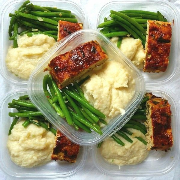 meal prep cauliflower, turkey meatloaf garlic string beans
