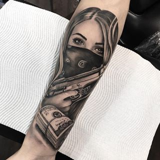 Image result for girl with bandana on face tattoo #TattooDesignsArm