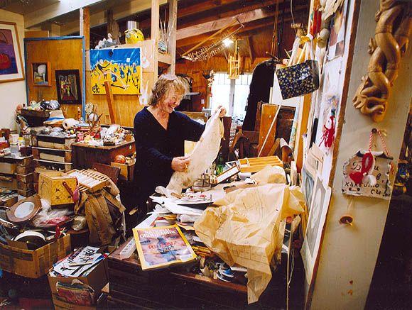 Dale Copeland Assemblage Artist in her studio - google Bakers Dozen & International Collage Exchange