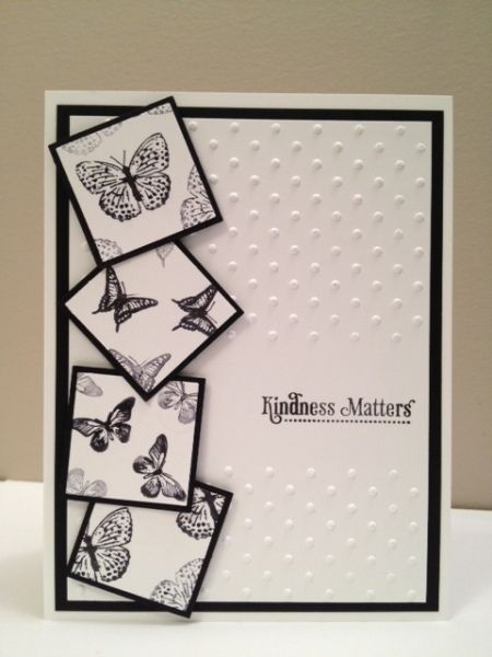 Stampin' Up! ... handmade card: Kindness matters by Tammy Downey ... black and white ... tumbling matted inchies with tiny butterflies ... luv ti!