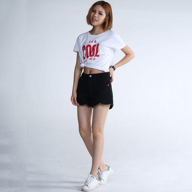 2017 New Products Jeans for Women Student Irregular Lotus Leaf Denim Shorts Waist Wide Leg Women Short Pants Korte Broek Vrouwen