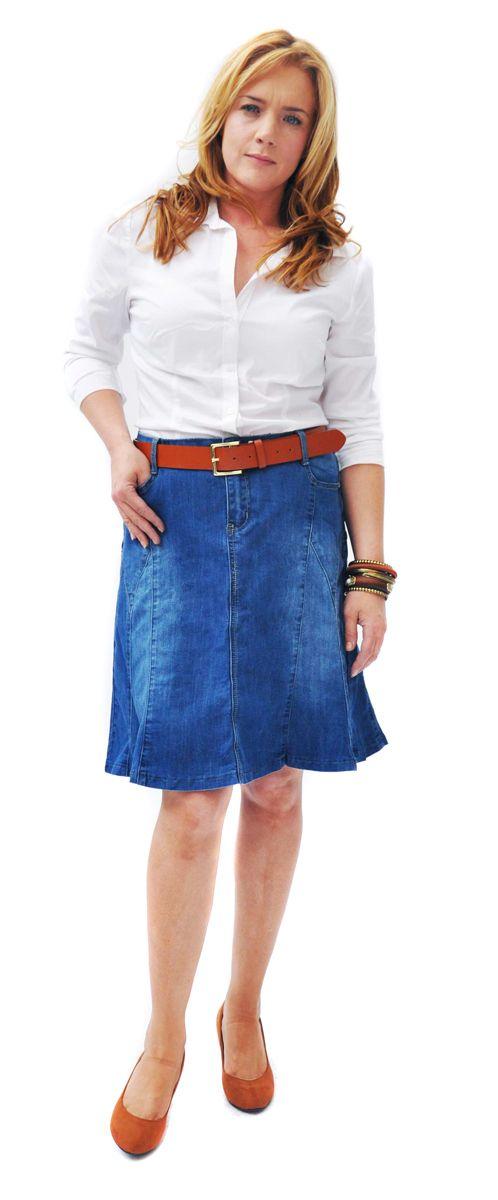 Flared Stonewash Denim Skirt | Denim Skirts