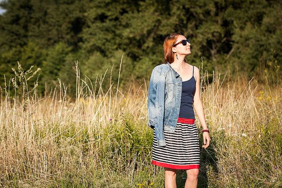 Circle Striped Skirt for Spring or Summer Black and by RUKAMIshop