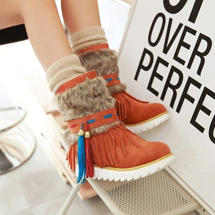 Winter Warm Womens Tassel Faux Fur Ankle Boots Flats Casual Sneakers Shoes