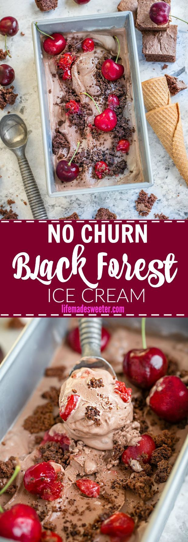 No Churn Black Forest Ice Cream makes the perfect sweet summer treat Best of all, it's so easy to make and combines all the flavors you love about Black Forest Cake and no ice cream maker required!