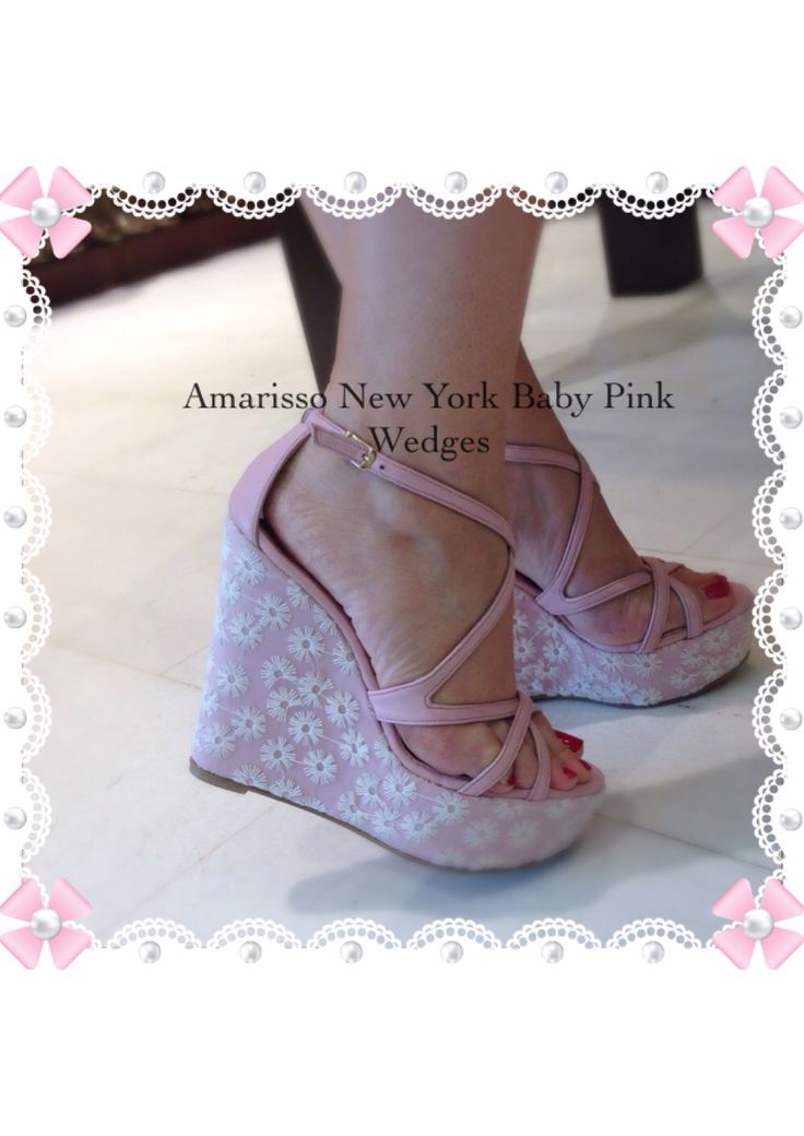 Amarisso New York Wedding Wedges in baby pink and ivory organza.