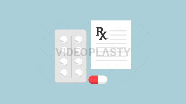 An icon of medical tablets prescription or drugs with a red and white pill designed in flat design style. Three version are included:in/out loop andin (can be extended with the loop version) Clip Length:10 seconds Loopable: Yes Alpha Channel: Yes Resolution:FullHD Format: Quicktime MOV