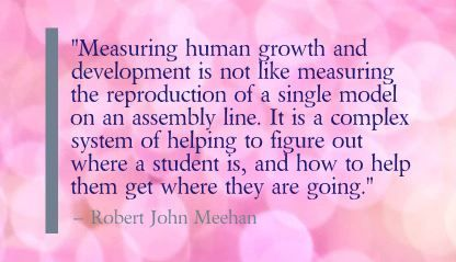 """Measuring human growth and development is not like measuring the reproduction of a single model on an assembly line. It is a complex system of helping to figure out where a student is, and how to help them get where they are going.""- Robert John Meehan"