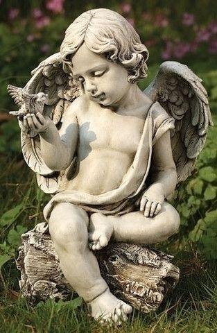 Cherub With Dove Figure For Garden Or Patio – Beattitudes Religious Gifts