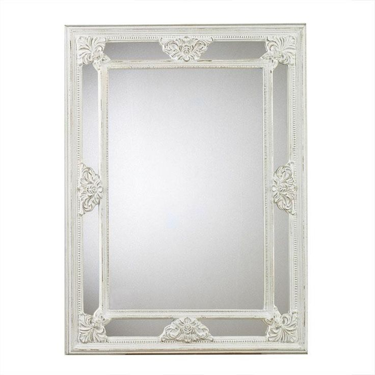 POLYRESIN WALL MIRROR IN ANTIQUE WHITE COLOR 50X4X76 - inart