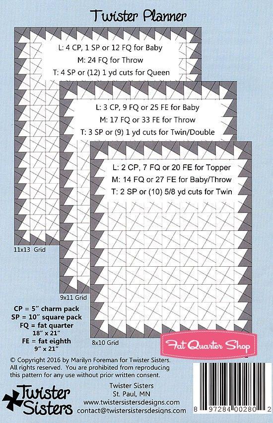 ツイスタープランナーキルトパターンツイスターシスターズ#のTWS101  - キルトパターン|  ファットクォーターショップ