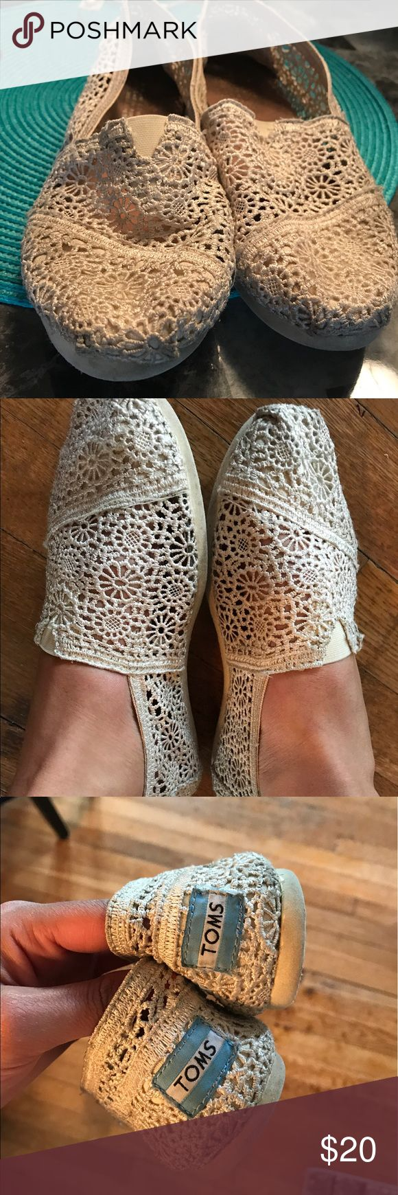 Tom's crochet beige shoes size 7.5 Tom's crochet beige shoes size 7.5 - worn a few times,  no tears to shoes in good condition, have tooo many toms these days, not that is a bad thing... very light and comfortable shoes ! Toms Shoes Flats & Loafers