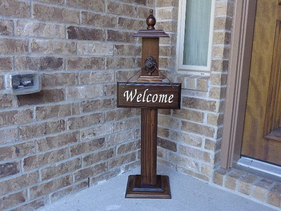 WELCOME POST 2 Welcome Sign Included Wooden Welcome by LLDMDesigns