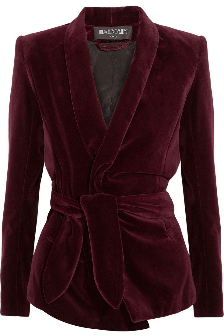 Balmain   Belted velvet blazer   http://NET-A-PORTER.COM