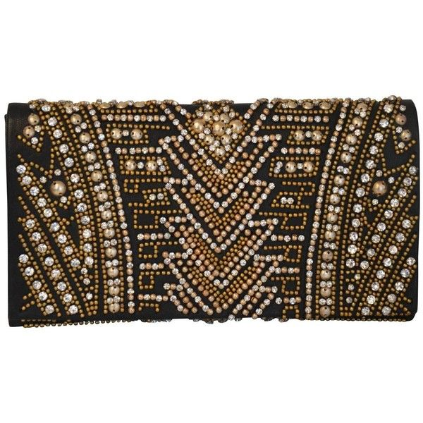 Rare Olivier Rousteing for Balmain Black Embroidered Leather Clutch ($3,510) ❤ liked on Polyvore featuring bags, handbags, clutches, bolso, evening hand bags, genuine leather handbags, embroidered handbags, leather handbags and balmain purse
