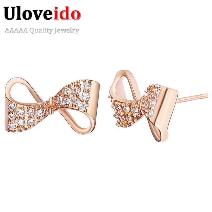 Find More Stud Earrings Information about Uloveido Rose Gold Plated Earrings for Women Fashionable Bowknot Shaped Orecchini Micro Pave Bijoux Women's Ornamentation R704,High Quality earrings 3d,China earrings coins Suppliers, Cheap earrings pandora from Uloveido Official Store on Aliexpress.com