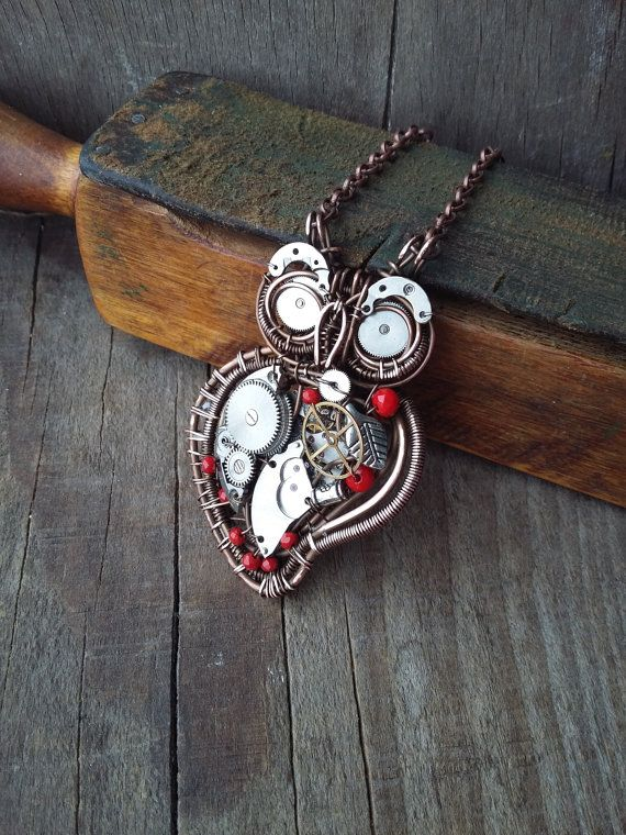 Steampunk - Mechanical owl pendant Steampunk owl necklace clock work owl by AlmostRealFlowersArt